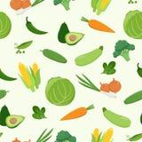 Modelo inconsútil de las diversas verduras verdes frescas en diseño plano Sistema de verduras del vector Col, zanahoria, maíz, ag stock de ilustración