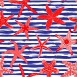 Modelo inconsútil de las estrellas de mar Fondos marinos con las estrellas de mar y los movimientos rayados del cepillo Estrellas Fotografía de archivo