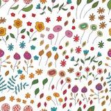 Modelo inconsútil de las flores de diversos colores encendido Imagen de archivo libre de regalías