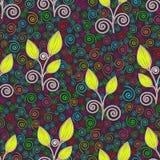 Modelo inconsútil de las flores del extracto, dibujo de esquema, ejemplo minimalistic, fondo del vector Brote cerrado de la cal,  stock de ilustración