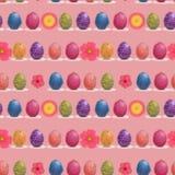Modelo inconsútil de las flores del huevo y de la primavera de Pascua en Coral Pink Background ilustración del vector