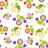 Modelo inconsútil de las flores violetas, rojas y amarillas en el fondo blanco - vector el ejemplo Fotografía de archivo