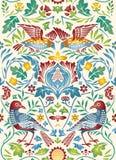 Modelo inconsútil de las flores y de los pájaros del vintage en fondo ligero Ilustración del vector del color stock de ilustración