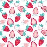 Modelo inconsútil de las fresas de moda sabrosas coloridas del vector en fondo ligero stock de ilustración