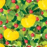 Modelo inconsútil de las frutas, de las bayas y de las hojas Imagen de archivo libre de regalías
