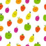 Modelo inconsútil de las frutas lindas ilustración del vector