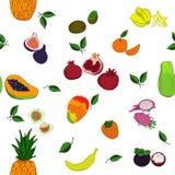 Modelo inconsútil de las frutas tropicales Fotografía de archivo