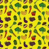 Modelo inconsútil de las frutas y verdura stock de ilustración