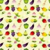Modelo inconsútil de las frutas y verdura de la historieta stock de ilustración