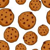 Modelo inconsútil de las galletas Fondo de los pasteles ornamento de la comida Swee Imagen de archivo libre de regalías
