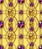 Modelo inconsútil de las gemas Ornamento del oro Modelo del encanto stock de ilustración