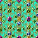 Modelo inconsútil de las gemas Ornamento del oro Modelo del encanto ilustración del vector