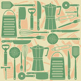 Modelo inconsútil de las herramientas de la cocina Foto de archivo libre de regalías