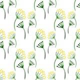 Modelo inconsútil de las hierbas simples de la acuarela Fondo con eneldo de la flor Vector el ejemplo para envolver, materia text Imagenes de archivo
