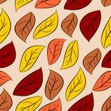 Modelo inconsútil de las hojas de otoño Fondo natural del vector del yel Foto de archivo libre de regalías