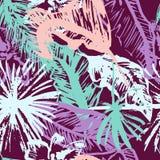 Modelo inconsútil de las hojas de palma tropicales del Grunge, fondo floral de la selva libre del estilo para las camisetas, ropa Fotografía de archivo