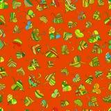 Modelo inconsútil de las hojas decorativas multicoloras, brillantes, étnico ilustración del vector
