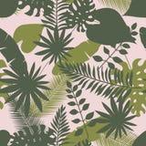 Modelo inconsútil de las hojas exóticas tropicales para la bandera de la venta del verano ilustración del vector