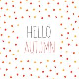 Modelo inconsútil de las hojas de otoño Hola Autumn Background ilustración del vector