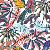 Modelo inconsútil de las hojas de palma tropicales libre illustration
