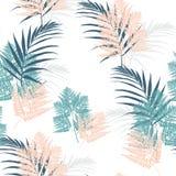 Modelo inconsútil de las hojas tropicales del helecho y de la palma La planta de Bush deja la decoración en el fondo blanco ilustración del vector