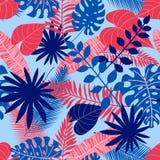 Modelo inconsútil de las hojas tropicales en fondo azul claro del verano stock de ilustración