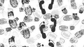 Modelo inconsútil de las impresiones del zapato y de los pies desnudos del hombre y huellas de los perros de los animales Ilustra libre illustration