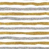 Modelo inconsútil de las líneas del oro y de la plata Fotografía de archivo libre de regalías