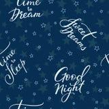 Modelo inconsútil de las letras de buenas noches Foto de archivo