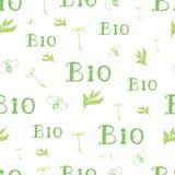 Modelo inconsútil de las letras verdes Marcado en caliente orgánico para el papel pintado del papel pintado bio Fotografía de archivo libre de regalías