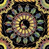 Modelo inconsútil de las mandalas redondas coloridas de Paisley Fondo floral ornamental de la elegancia del vector Repetición étn stock de ilustración