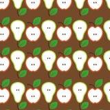 Modelo inconsútil de las manzanas y de las peras Ilustración del vector fotos de archivo