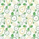 Modelo inconsútil de las manzanas y de las peras Ilustración del vector fotografía de archivo libre de regalías