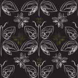 Modelo inconsútil de las mariposas monocromáticas Imágenes de archivo libres de regalías