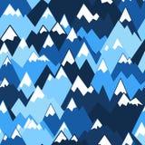 Modelo inconsútil de las montañas azules Fondo del vector para caminar y el concepto al aire libre imagenes de archivo