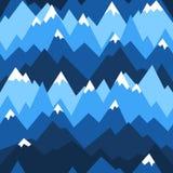 Modelo inconsútil de las montañas azules Fondo del vector para caminar y el concepto al aire libre imagen de archivo libre de regalías