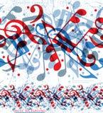 Modelo inconsútil de las notas musicales stock de ilustración