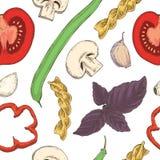 Modelo inconsútil de las pastas, de las habas, de las hierbas y de los tomates Foto de archivo libre de regalías