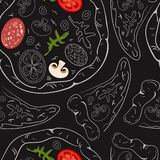 Modelo inconsútil de las pizzas del contorno y de las rebanadas de la pizza con los ingredientes del color stock de ilustración