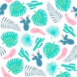 Modelo inconsútil de las plantas tropicales con las hojas y los cactus Imagenes de archivo