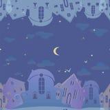 Modelo inconsútil de las propiedades inmobiliarias Fondo azul con las casas Ciudad del cielo nocturno Foto de archivo libre de regalías