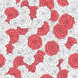 Modelo inconsútil de las rosas blancas y rojas del vector Ornamento floral delicado abstracto Foto de archivo libre de regalías