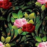 modelo inconsútil de las rosas 3d Papel pintado floral IL del fondo del vector Imagen de archivo libre de regalías