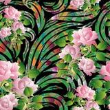 modelo inconsútil de las rosas 3d Papel pintado floral IL del fondo del vector Foto de archivo libre de regalías