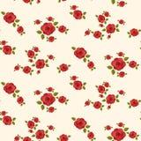Modelo inconsútil de las rosas rojas Imagenes de archivo