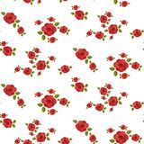 Modelo inconsútil de las rosas rojas Imagen de archivo