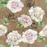 Modelo inconsútil de las rosas y de los gráficos de la acuarela stock de ilustración