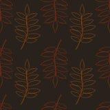 Modelo inconsútil de las siluetas de la hoja del contorno del otoño en fondo marrón libre illustration