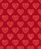 Modelo inconsútil de las tarjetas del día de San Valentín rojas Fotos de archivo libres de regalías