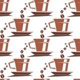 Modelo inconsútil de las tazas de café Fotografía de archivo
